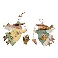 "Set of 2 Kurt Adler ""Love"" & ""Hope"" Lady in Hat Folk Art Style Christmas Angel Ornaments"