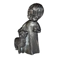 Signed Ampersand U.S.A. Solid Pewter Girl Holding a Flower with Sheep Figurine