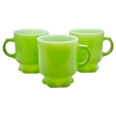 c1950s Set of 3 Fire King Anchor Hocking Concord Lime Green Scalloped / Petal Footed Milk Glass Mugs