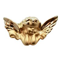 Large Winged Cherub Angel Matte & Polished Gold Tone Christmas or Religious Brooch / Pin