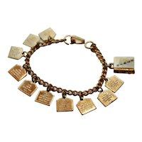 Mother of Pearl Bible Figural w/ Ten Commandments Gold Tone Charm Link Bracelet