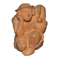 c1976 Jayme Curley Pensive Man Holding Jug Original Clay Sculpture