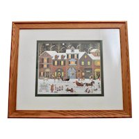 "Charles Wysocki ""A Merry Christmas Street"" Primitive Style Americana Art Print in Original Oak Wood Frame"