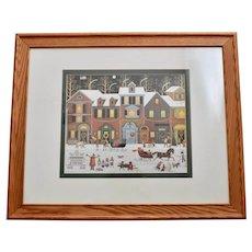 "Charles Wysocki ""A Merry Christmas Street"" Primitive Style Americana Art Print in Original Oak Wood Frame"