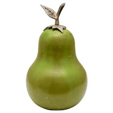 Large Solid Wood Carved & Hand Painted Green Pear Figural Fruit - Folk Art Sculpture for the Farmhouse Inspired Home
