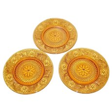 Set of 3 Tiara Exclusives Sandwich Amber Glass Luncheon Plates