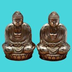 c1950s Pair of Sterling Silver Buddha Figural Salt & Pepper Shakers in Original Wood Box