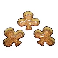 Set of 3 Tiara Exclusives Sandwich Amber Glass Club or Shamrock Figural Nut or Candy Stacking Dishes