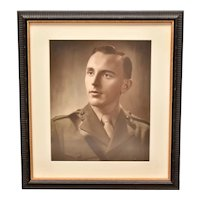 Large WWII Era Original Photograph of Enlisted Army Military Man / Handsome Husband in Black Wood Frame