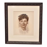 Large WWII Era Original Hand Colored Photograph of Beautiful Lady / Military Wife in Ornate Black Wood Frame