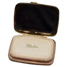 c1950s Revlon Love-Pat Cream Beige Face Powder Foundation Cosmetic Makeup Case w/ Mirror