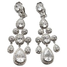Huge Sterling Silver & Brilliant Goshenite Beryl Gemstone French Clip Chandelier Earrings