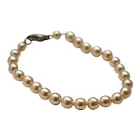 Illustrious Hand-Knotted 5mm Cream White Glass Pearl Bead Bracelet