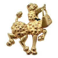 Large JJ / Jonette Jewelry Proud Poodle with Purse Figural Gold-Tone Brooch / Pin