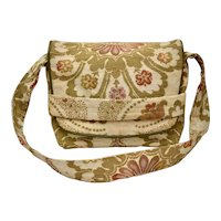 c1960s Bohemian Floral Motif Earthy Fabric Tapestry w/ Flap Closure Shoulder Bag Purse