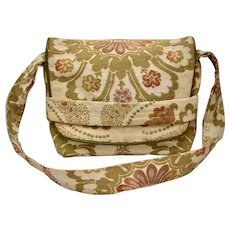 c1960s Bohemian Floral Motif Earthy Fabric Tapestry w/ Flap Closure Shoulder Bag Purse