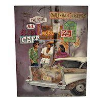 """c1977 Laurie Manzano Signed """"Nowhere Plans"""" Original Oil on Board Smoking Men with Classic Chevrolet Car Painting"""
