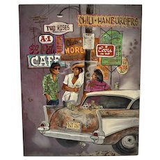 "c1977 Laurie Manzano Signed ""Nowhere Plans"" Original Oil on Board Smoking Men with Classic Chevrolet Car Painting"