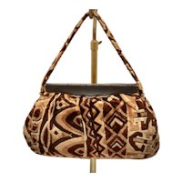 c1960s Cara Signed Brown & Beige Carpet Velour Tapestry Bohemian Handbag Purse