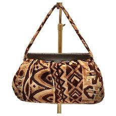 c1960s Cara Signed Brown & Beige Carpet Velour Tapestry Bohemian Handbag Purse
