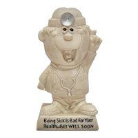 """c1970 Russ Berrie & Co. Doctor """"Being Sick Is Bad For Your Health...Get Well Soon"""" Patient Humor Figurine"""