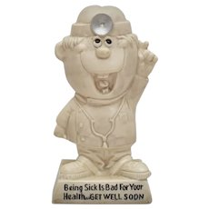 "c1970 Russ Berrie & Co. Doctor ""Being Sick Is Bad For Your Health...Get Well Soon"" Patient Humor Figurine"