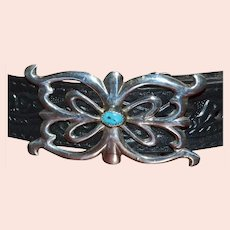 Sandcast Sterling Silver & Blue Turquoise Native American Indian Women's Belt Buckle