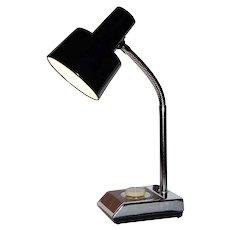 c1970s Industrial Chrome Silver & Faux Wood Base Gooseneck Desk Lamp w/ Black Metal Shade