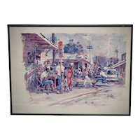 Herbie Rose Jamaican Artist City Street Corner Marketplace Landscape Color Lithograph Art Print in Frame