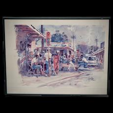 Herbie Rose Jamaican Artist City Street Corner Marketplace Landscape Color Lithograph Art Print in Frame