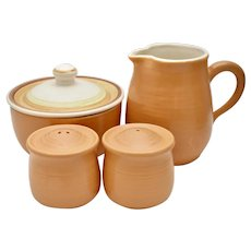 c1970s Franciscan Shady Lane 5-Pc Set:  Muted Orange Speckled Sugar Bowl w/ Lid, Cream Pitcher & Salt / Pepper Shakers