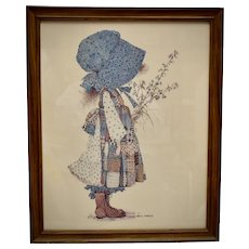 c1970s Holly Hobbie Large 22 x 18 Prairie Girl Color Art Print in Original Solid Wood Frame