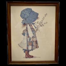c1970s Holly Hobbie Large 22 x 18 Prairie Girl Color Art Print in Original Solid Wood Frame