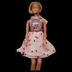 "c1969 Barbie ""Glo-Go"" #1865 Silvery Pink Lame & Red Polka Dot Chiffon Mod Belted Mini Dress - Needs TLC"