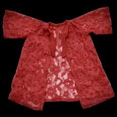 c1963 Remco Lisa Littlechap #1201 Lipstick Red Bell Sleeve Lace Peignoir Robe