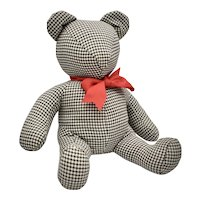 Primitive Style Black & White Gingham Fabric Handcrafted Plush Teddy Bear w/ Red Neck Bow