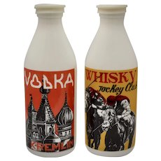 "Set of 2 Egizia Sphinx Signed ""Vodka Kremlin"" & ""Whisky Jockey Club"" Italian White Milk Glass Bottles w/ Original Caps"
