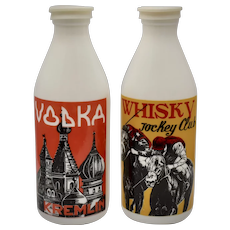 "Set of 2 Egizia Sphinx Signed ""Vodka Kremlin"" & ""Whisky Jockey Club"" Italian White Milk Glass Bottles w/ Original Caps"
