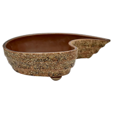 Mid-Century Modern Signed Brown Lava Glaze Atomic Boomerang Pottery Planter