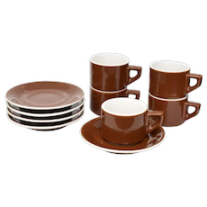 10-Pc ACF Italy Stackable Brown & White Cafe Style Porcelain Cappuccino Coffee Cup & Saucer Set