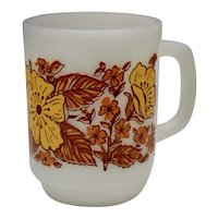 c1960s Anchor Hocking Orange & Yellow Flower / Floral Motif White Milk Glass D-Handle Mug