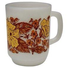 c1960s Anchor Hocking Orange & Yellow Flower / Floral Motif White Milk Glass D-Handle Mug