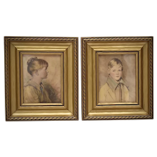 Artist Bosseron Chambers Small Pair of Hand Tinted Lithograph Framed Art Prints - Mary Mitchell & Colonial