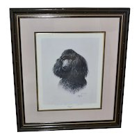 "Signed James H. Killen ""That's My Dog!"" Large 32"" x 28"" Black Poodle Framed Lithograph Art Print"
