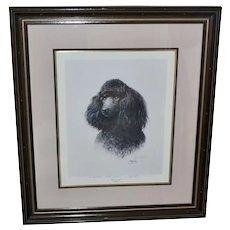 "Signed James H. Killen ""That's My Dog!"" Large 32"" x 28"" Black Poodle Framed Lithograph Art Print"
