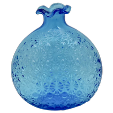 Caribbean Blue Glass Daisy and Button Ruffled Rim Round Flower Vase