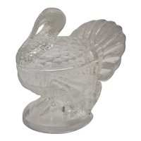 L.E. Smith Crystal Lustre #207L Turkey Figural Art Glass Candy / Gravy / Cranberry Dish w/ Original Lid