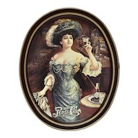 "c1970s Fabcraft USA Gibson Girl in Hat 14"" Large Pepsi Cola Advertising Tin Oval Tray"