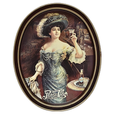 """c1970s Fabcraft USA Gibson Girl in Hat 14"""" Large Pepsi Cola Advertising Tin Oval Tray"""