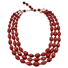 c1950s Western Germany Signed Lipstick Red Textured Bead & Glass Spacer Triple Strand Necklace